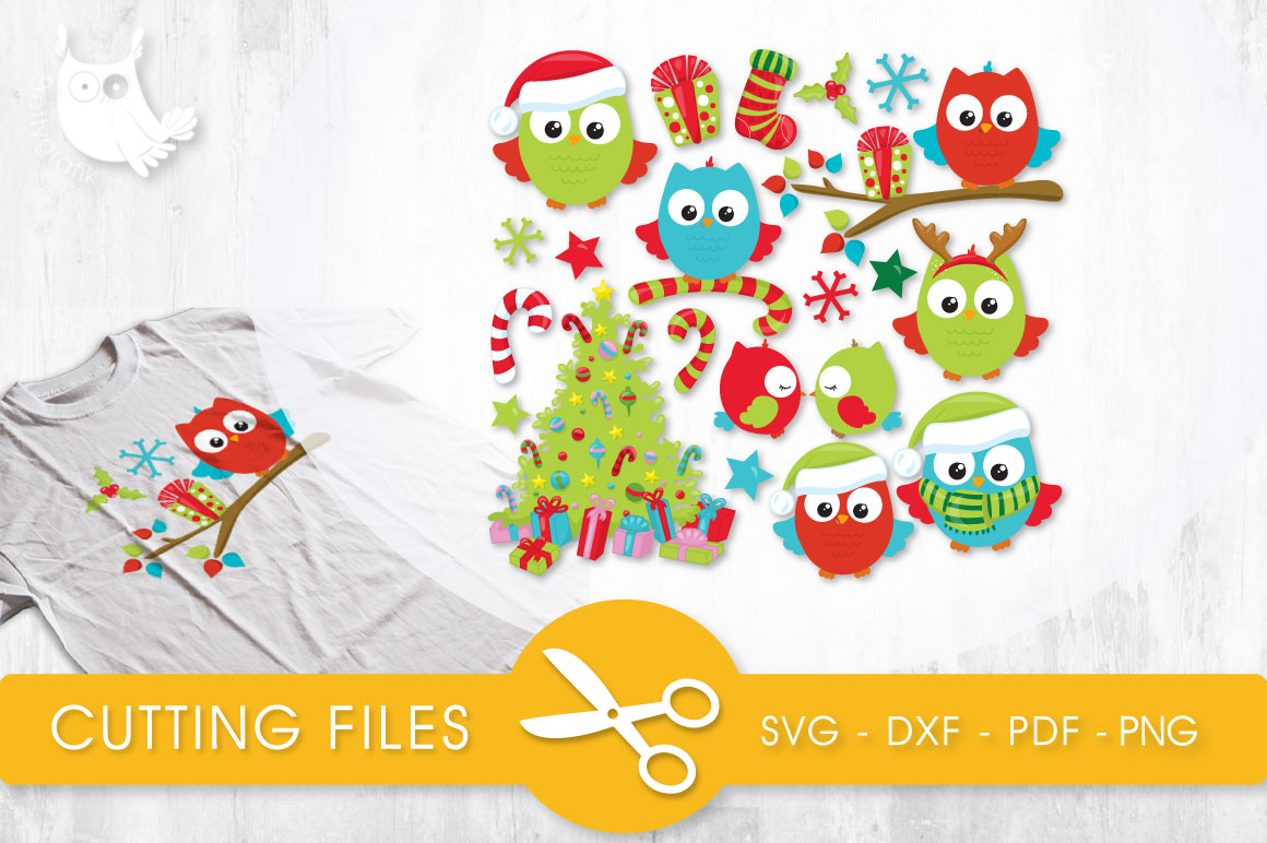 Download Free Christmas Tree Owls Graphic By Prettycuttables Creative Fabrica for Cricut Explore, Silhouette and other cutting machines.