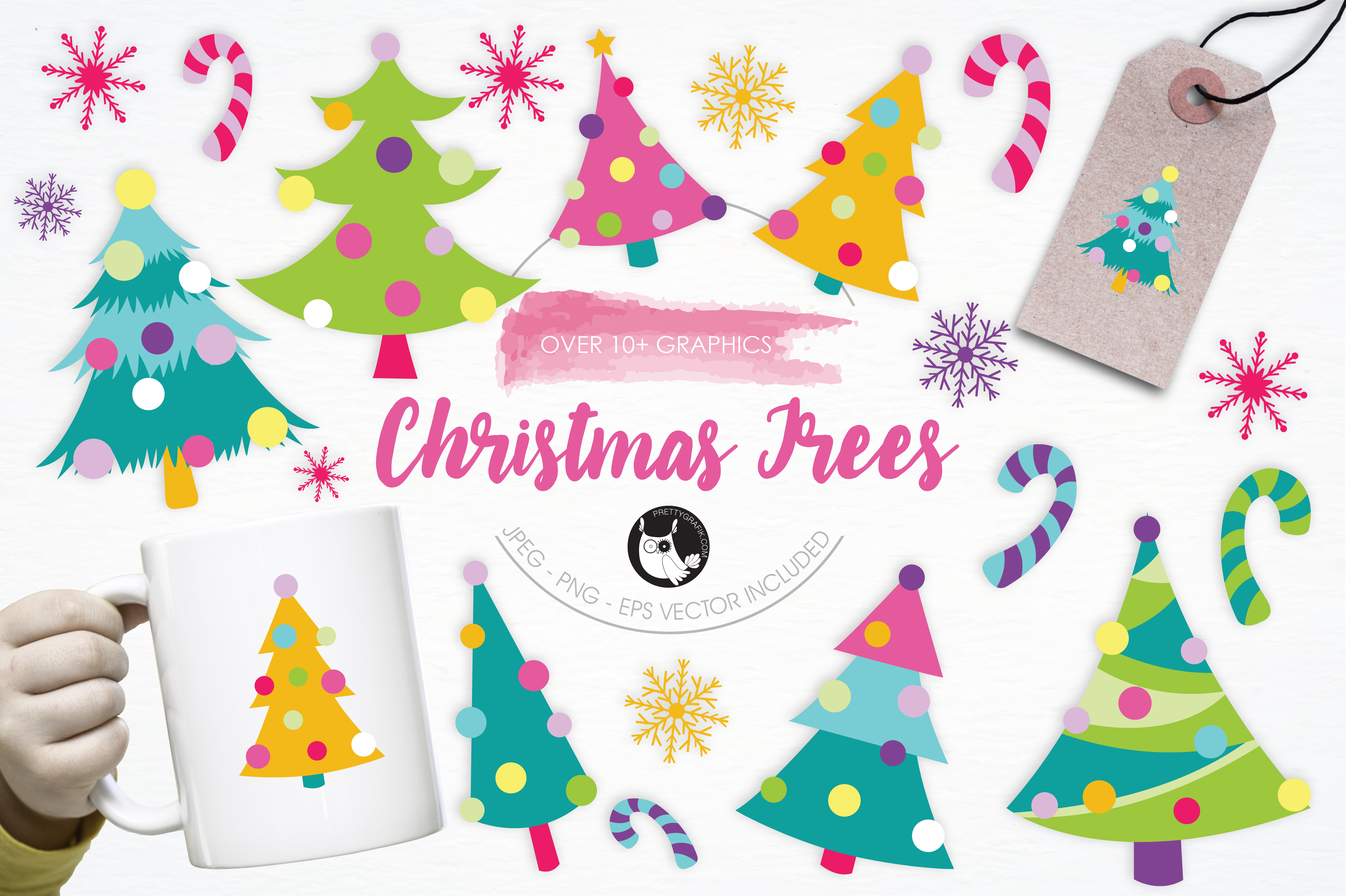 Print on Demand: Christmas Colorful Trees Graphic Illustrations By Prettygrafik