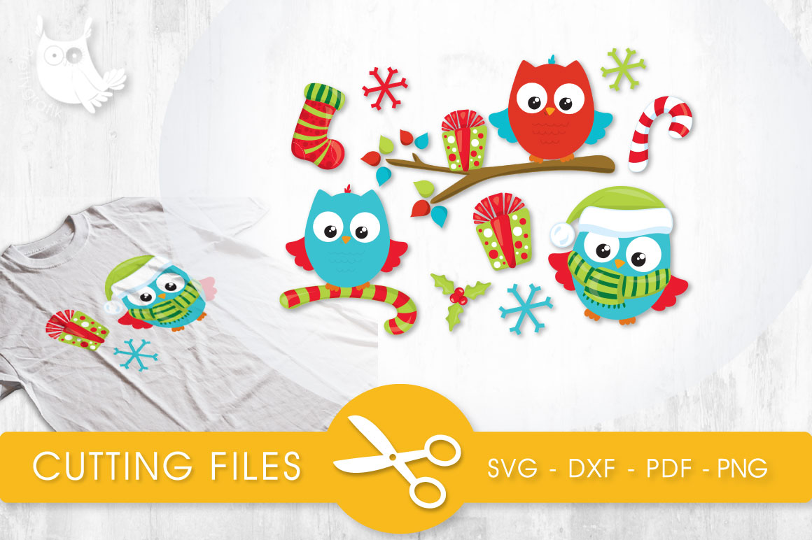 Download Free Christmas Wintery Owls Graphic By Prettycuttables Creative Fabrica for Cricut Explore, Silhouette and other cutting machines.