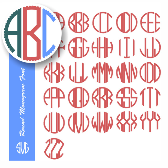 Download Free Circle Monogram Alphabet Svg Graphic By Vector City Skyline for Cricut Explore, Silhouette and other cutting machines.