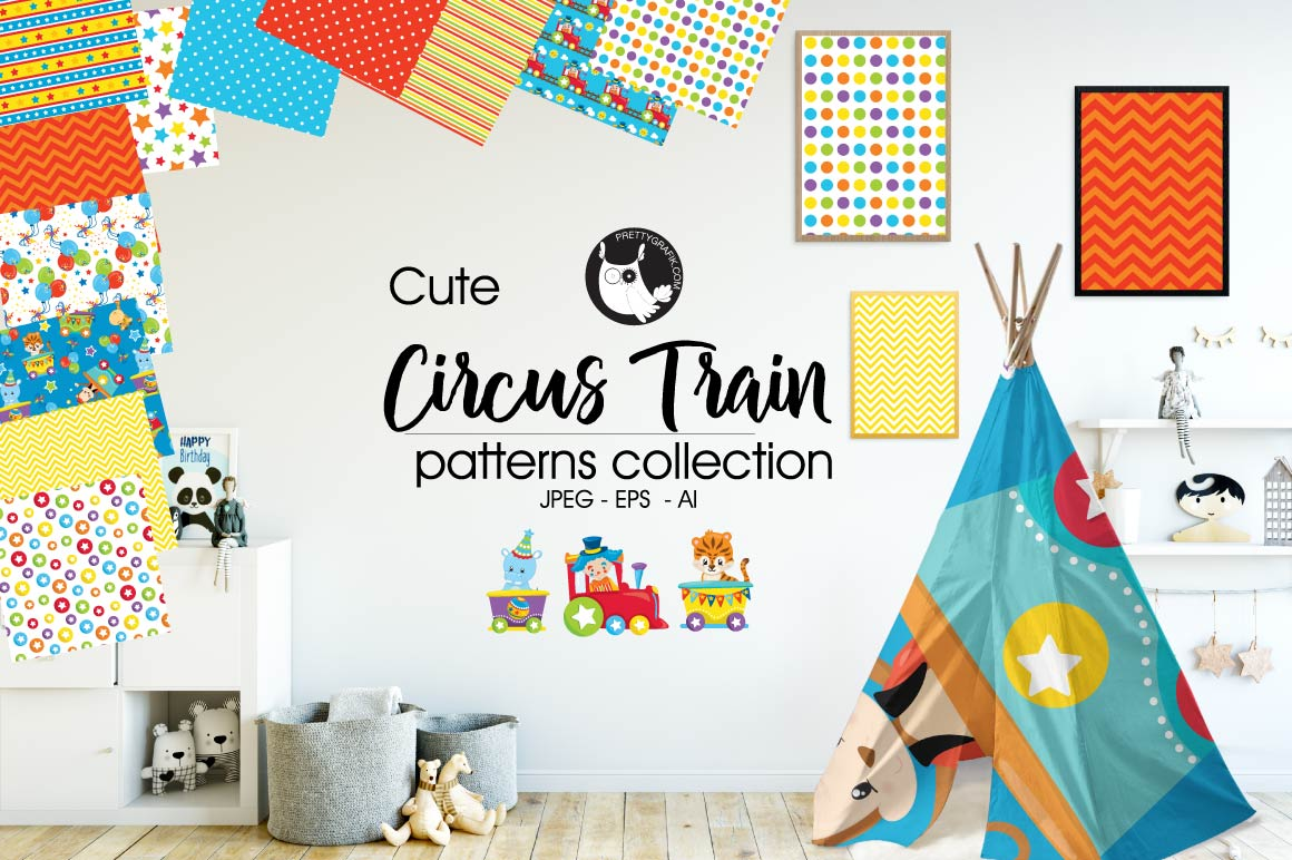 Print on Demand: Circus Train Graphic Patterns By Prettygrafik