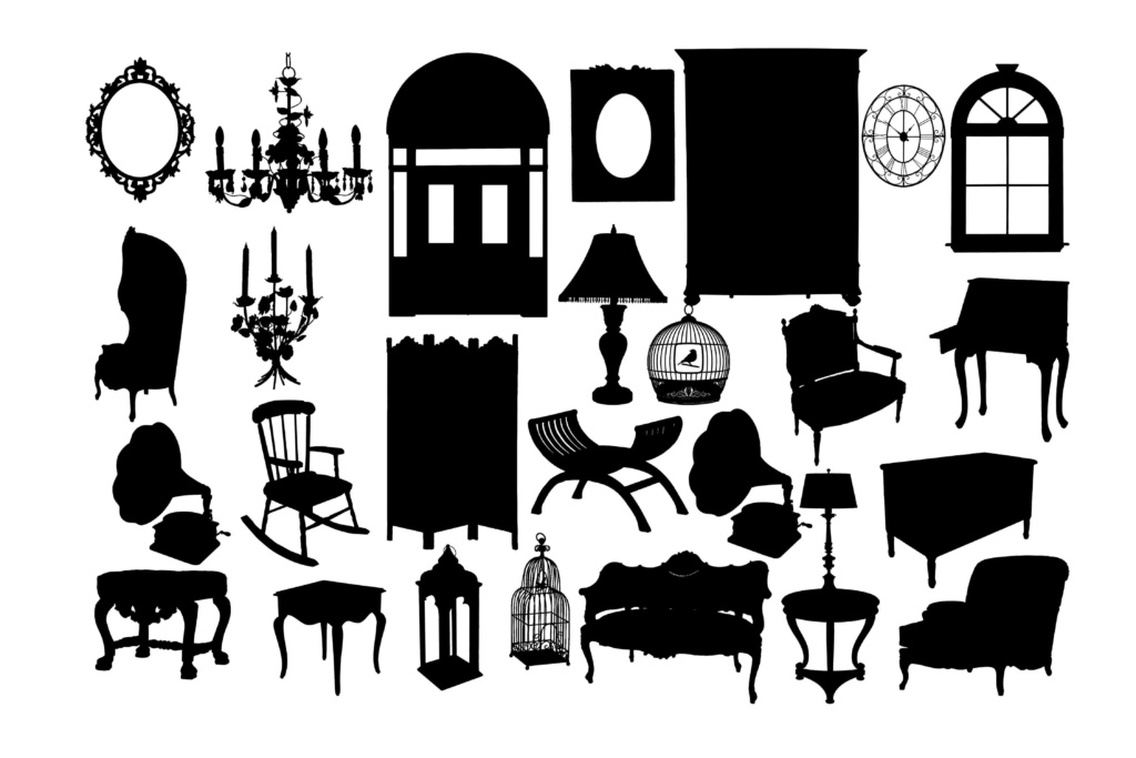 Download Free Classical Furniture Graphic By Retrowalldecor Creative Fabrica for Cricut Explore, Silhouette and other cutting machines.