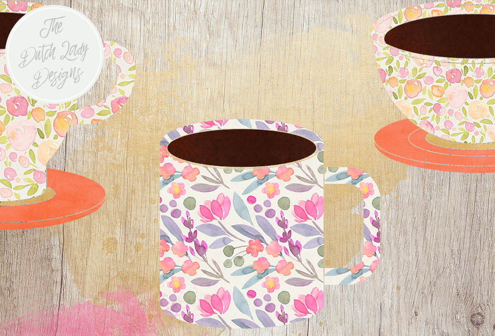 Coffee Cup Clipart Set - Coffee Time Graphics - Includes ...