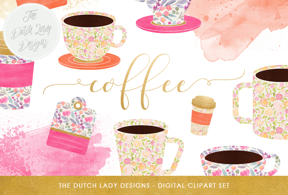 Print on Demand: Coffee Cup Clipart Set - Coffee Time Graphics - Includes Watercolor Smears & Labels Gráfico Ilustraciones Por daphnepopuliers