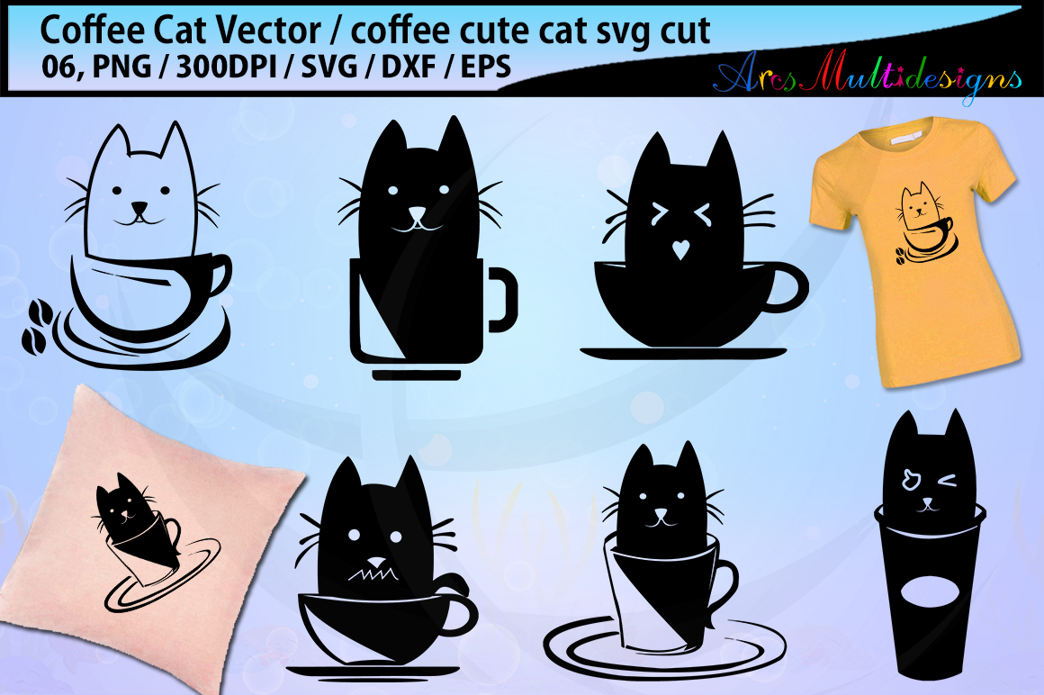Download Free Coffee Cat Silhouette Svg Graphic By Arcs Multidesigns Creative Fabrica for Cricut Explore, Silhouette and other cutting machines.