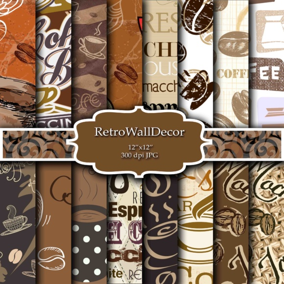 Print on Demand: Coffee Digital Papers Grafik Hintegründe von retrowalldecor