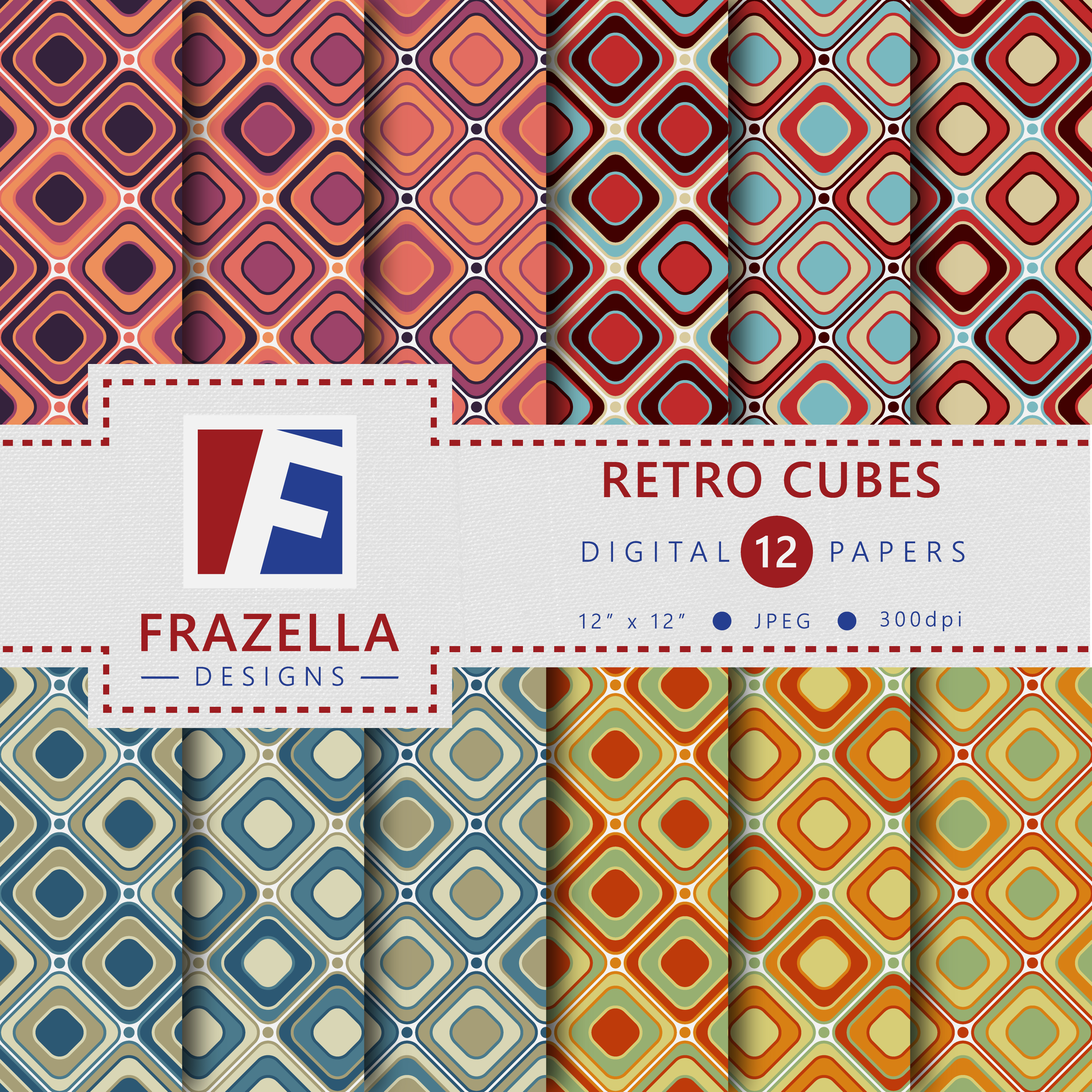 Download Free Colorful Retro Cubes Digital Paper Collection Graphic By for Cricut Explore, Silhouette and other cutting machines.