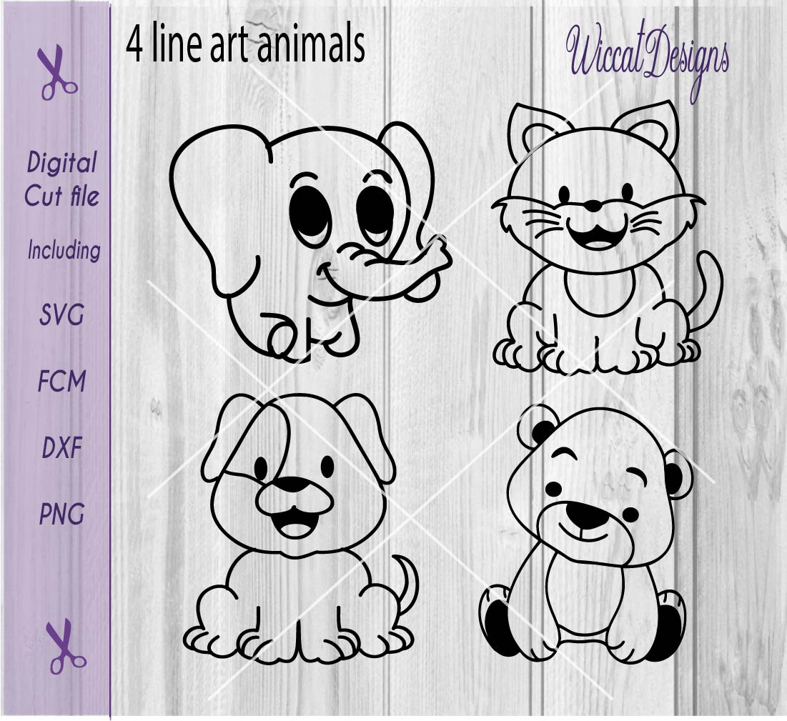 Download Free Coloring Animals Graphic By Wiccatdesigns Creative Fabrica for Cricut Explore, Silhouette and other cutting machines.