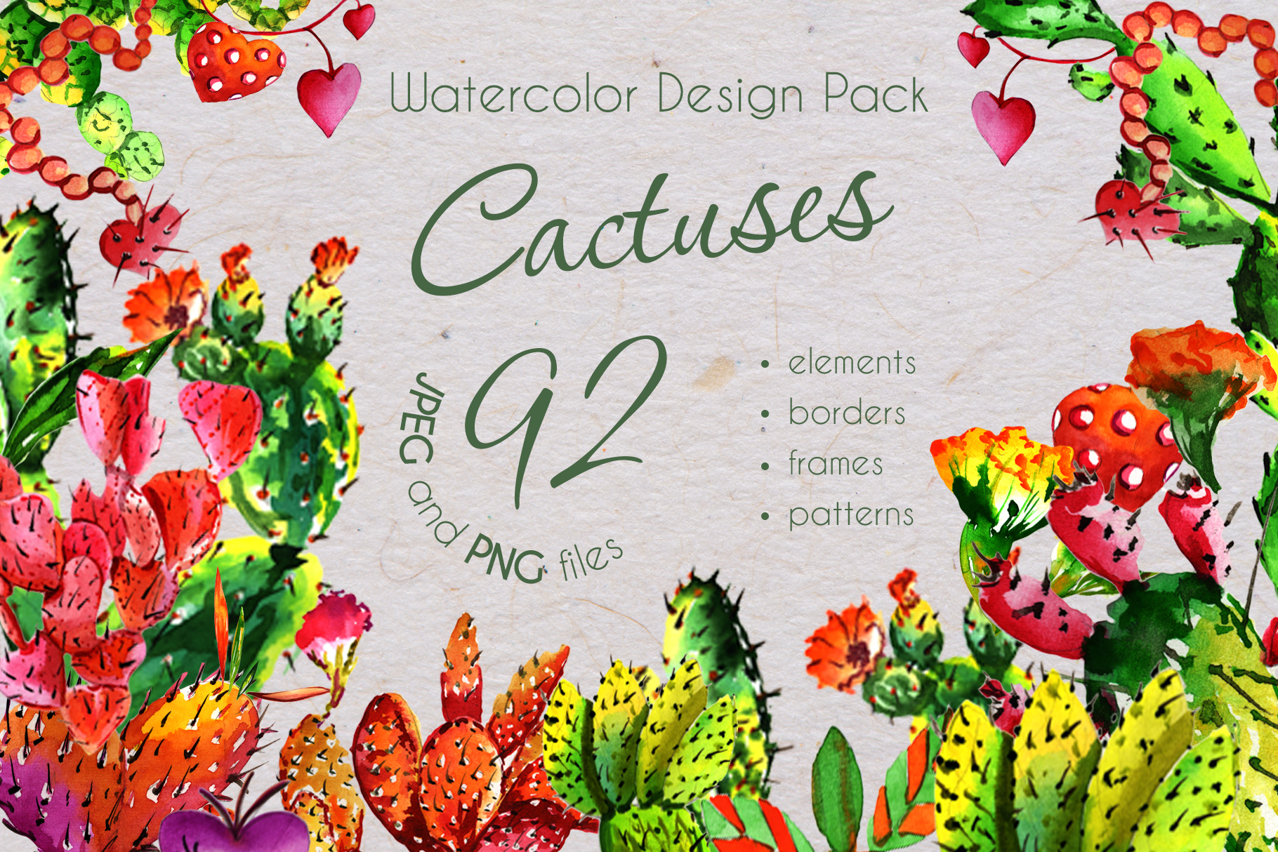 Print on Demand: Cool Tropical Cactus Watercolor Set Graphic Illustrations By MyStocks