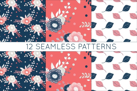 Print on Demand: Coral and Navy Digital Papers - Seamless Vtor Patterns Graphic Patterns By illuztrate - Image 2