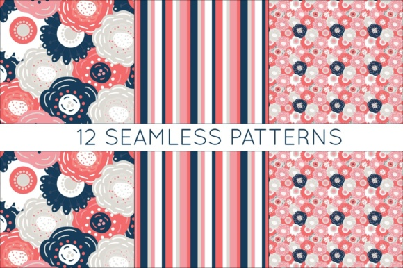 Print on Demand: Coral and Navy Digital Papers - Seamless Vtor Patterns Graphic Patterns By illuztrate - Image 3