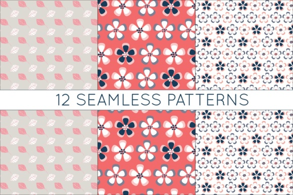 Print on Demand: Coral and Navy Digital Papers - Seamless Vtor Patterns Graphic Patterns By illuztrate - Image 4