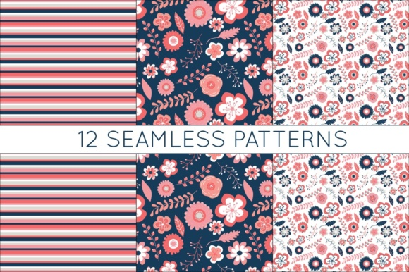 Print on Demand: Coral and Navy Digital Papers - Seamless Vtor Patterns Graphic Patterns By illuztrate - Image 5
