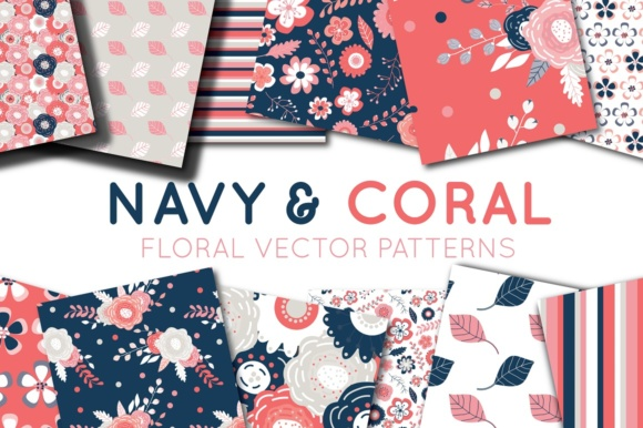 Print on Demand: Coral and Navy Digital Papers - Seamless Vtor Patterns Graphic Patterns By illuztrate