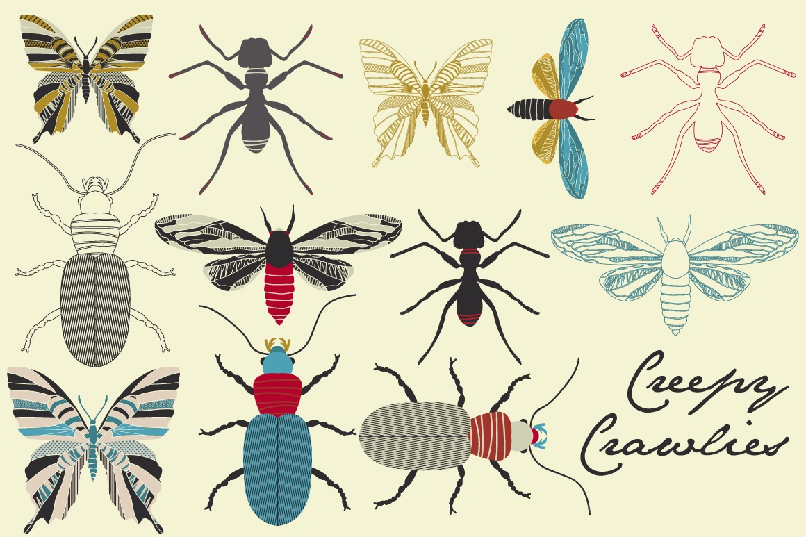 Print on Demand: Creepy Crawlies Clipart Set Graphic Illustrations By illuztrate