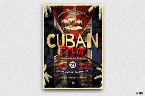 Cuban Fever Flyer Template Graphic Print Templates By ThatsDesignStore