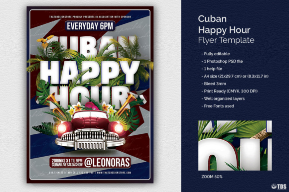 Cuban Happy Hour Flyer Template Graphic By Thatsdesignstore