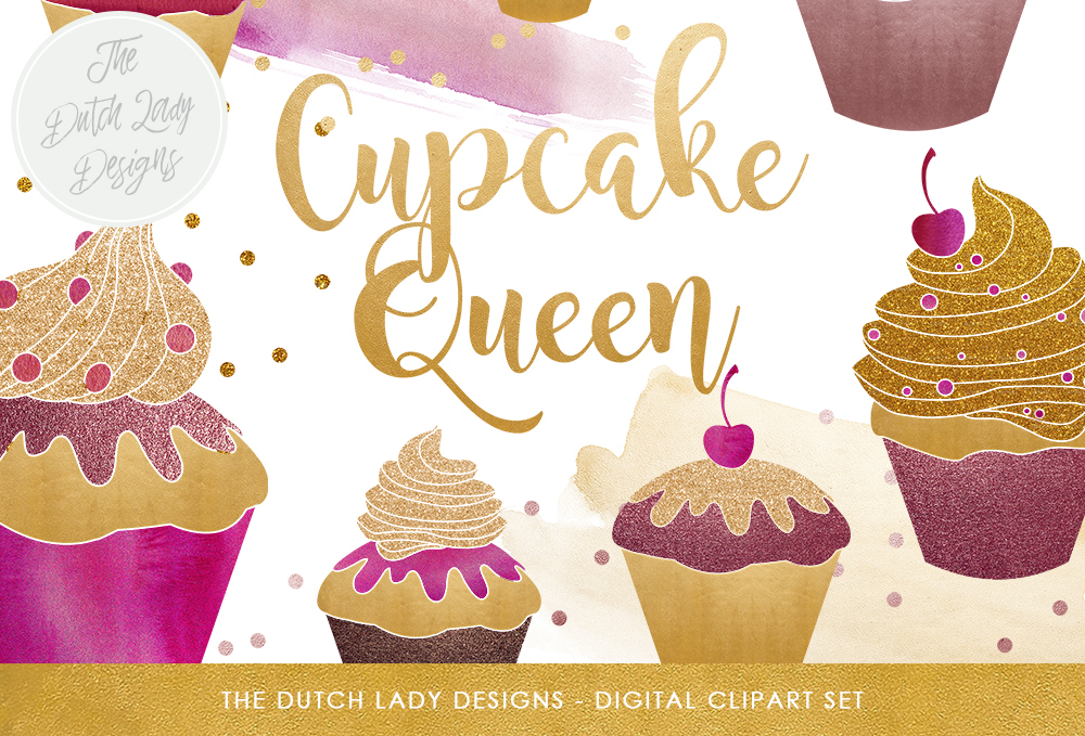 Print on Demand: Cupcake Clipart Set - Cupcakes, Watercolor Smears & Confetti Overlays - Purple, Gold and Glitter Graphic Illustrations By daphnepopuliers