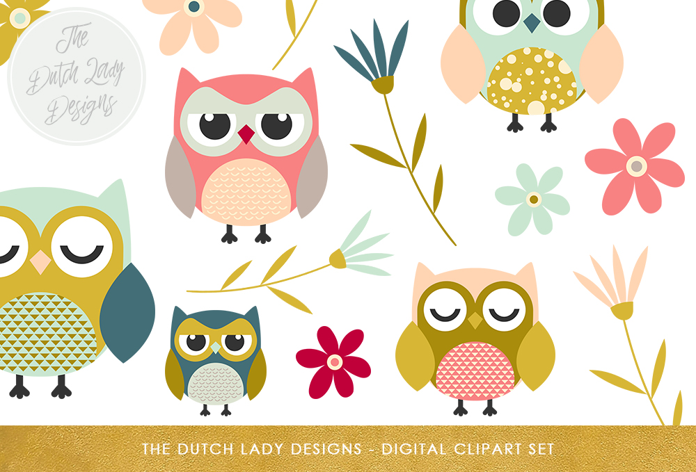 Download Free Cute Owl Flower Clipart Set Graphic By Daphnepopuliers Creative Fabrica for Cricut Explore, Silhouette and other cutting machines.