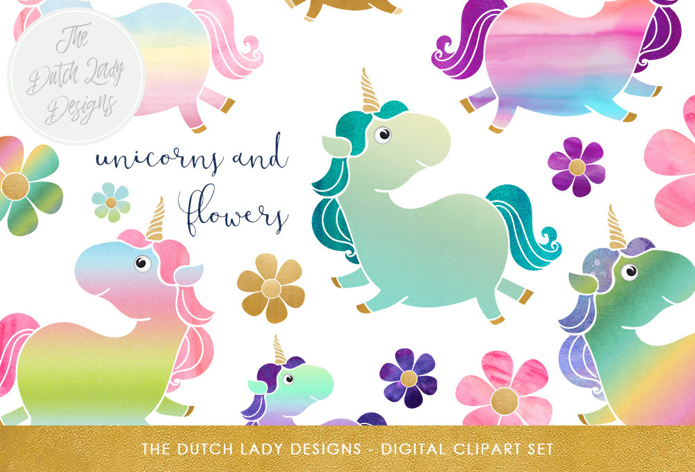 Print on Demand: Cute Unicorn & Pony Clipart Set Graphic Illustrations By daphnepopuliers
