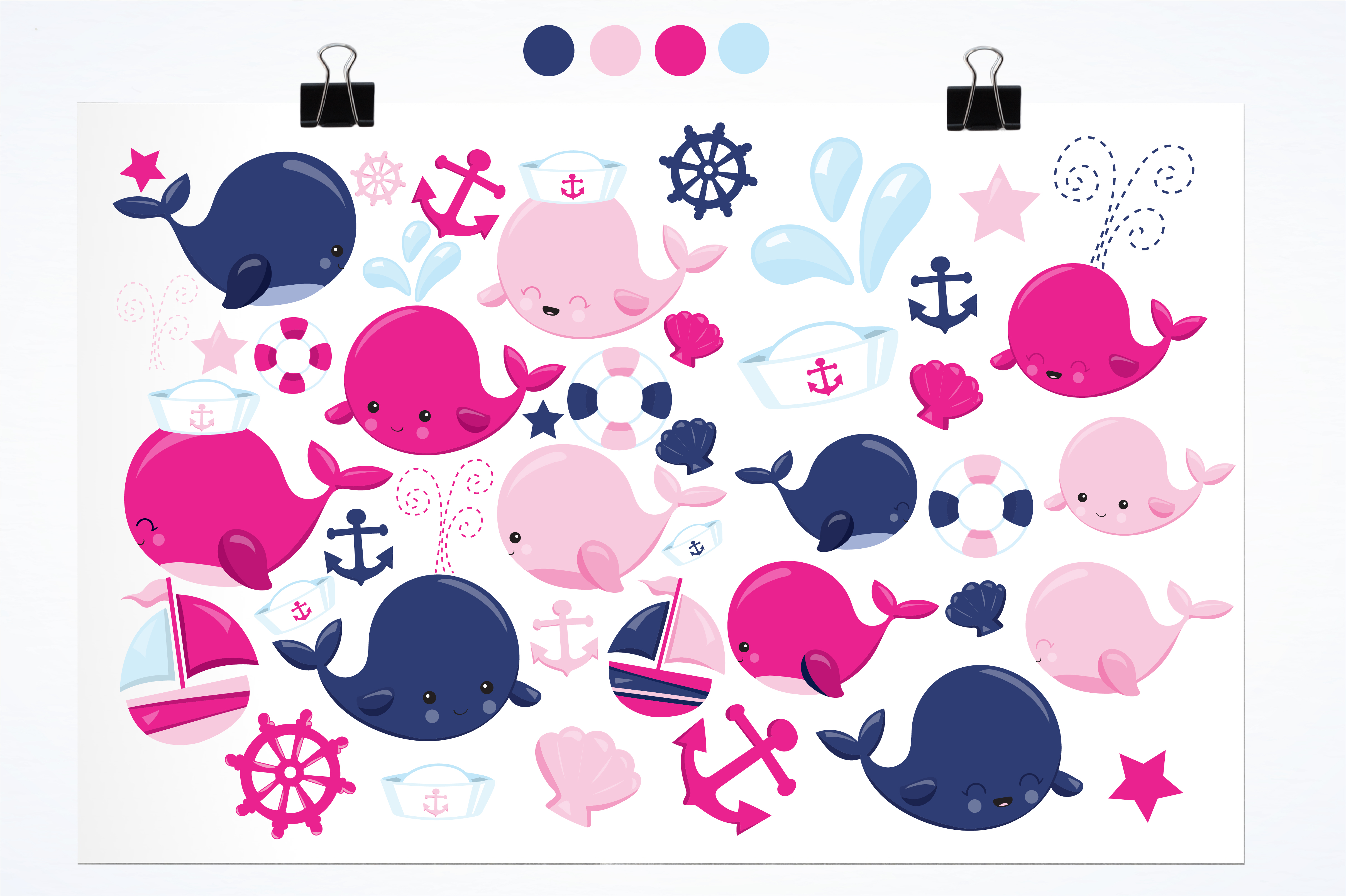 Print on Demand: Cute Whales Graphic Illustrations By Prettygrafik - Image 2