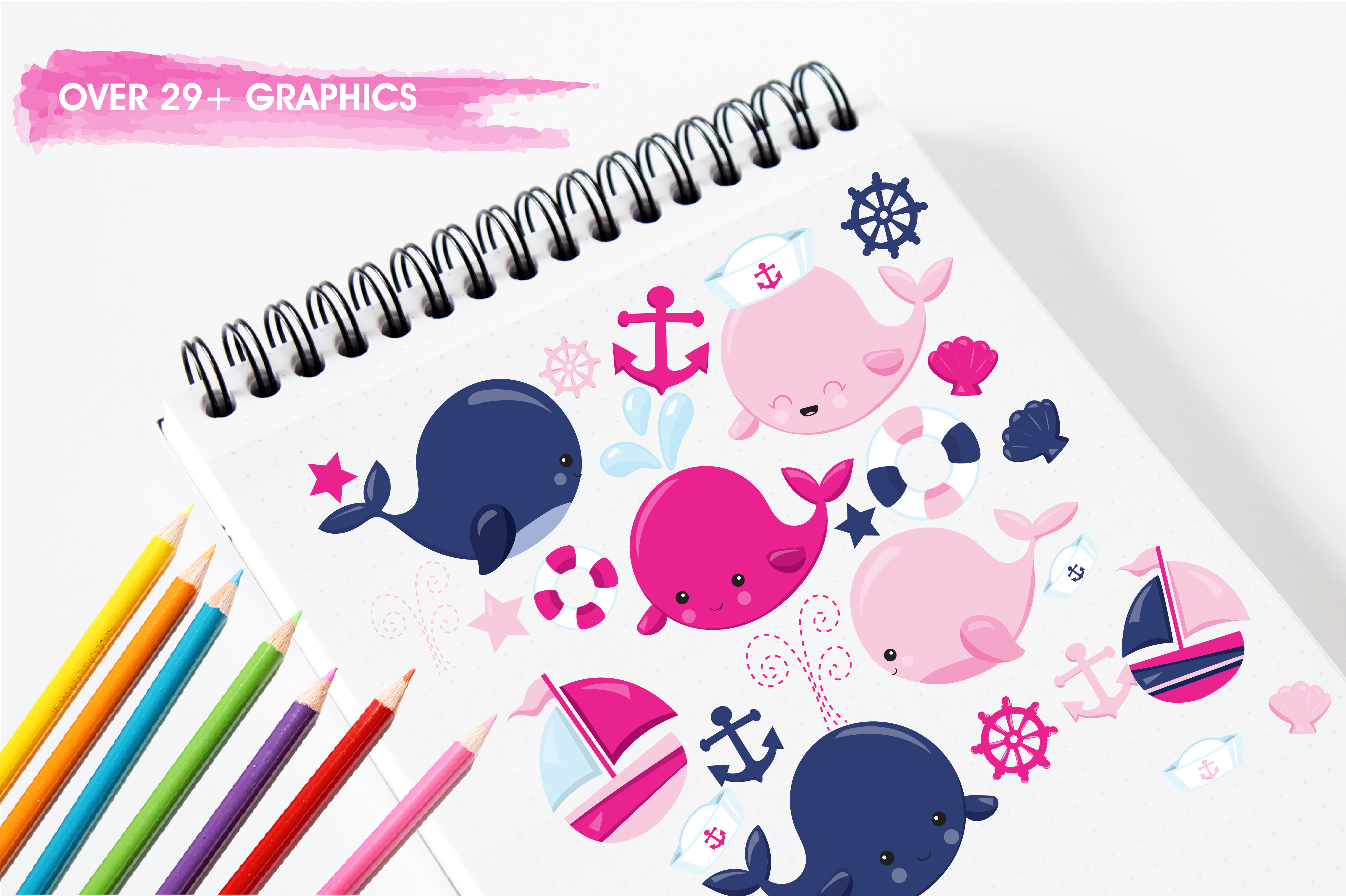 Print on Demand: Cute Whales Graphic Illustrations By Prettygrafik - Image 3