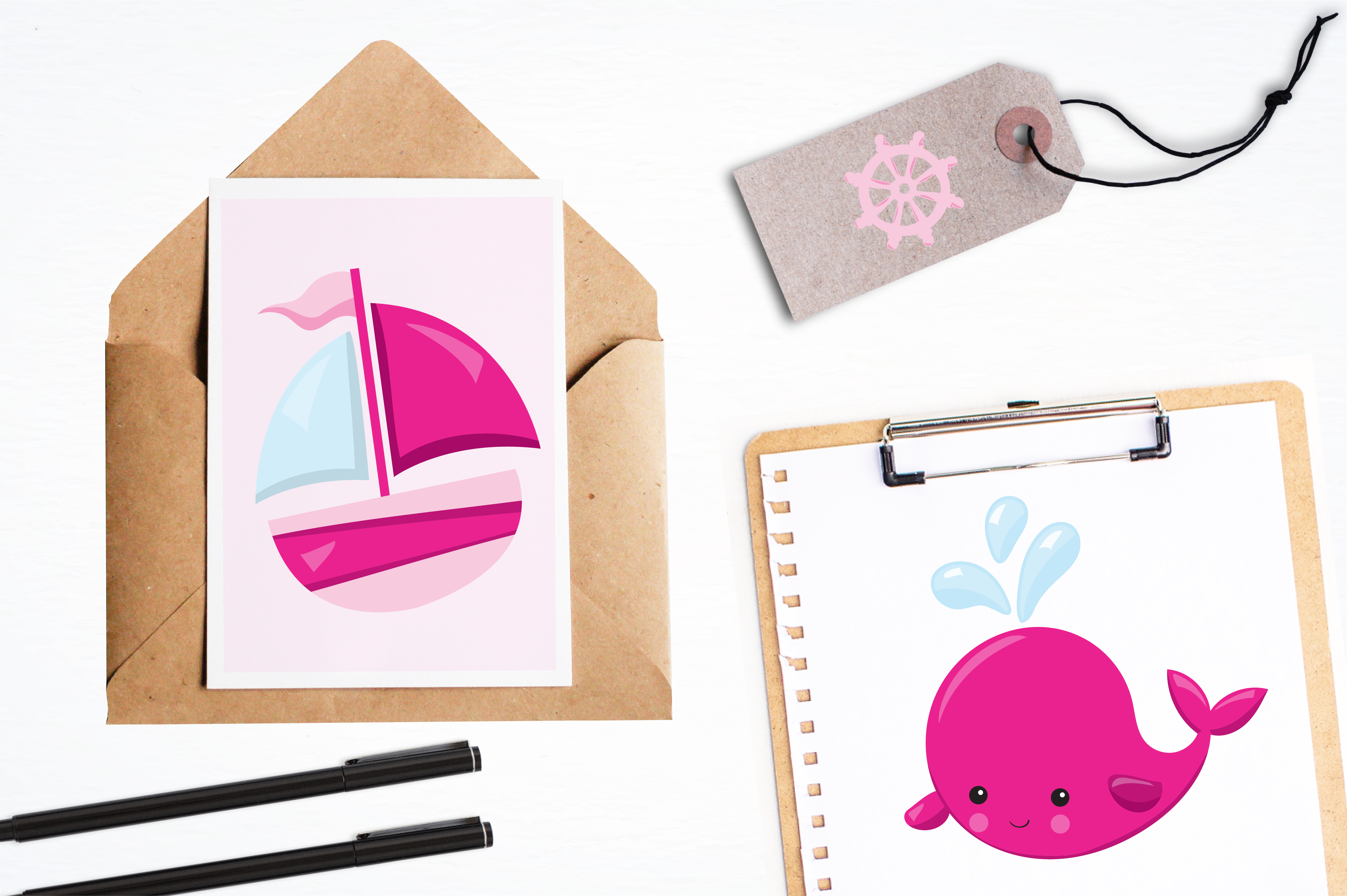 Print on Demand: Cute Whales Graphic Illustrations By Prettygrafik - Image 4