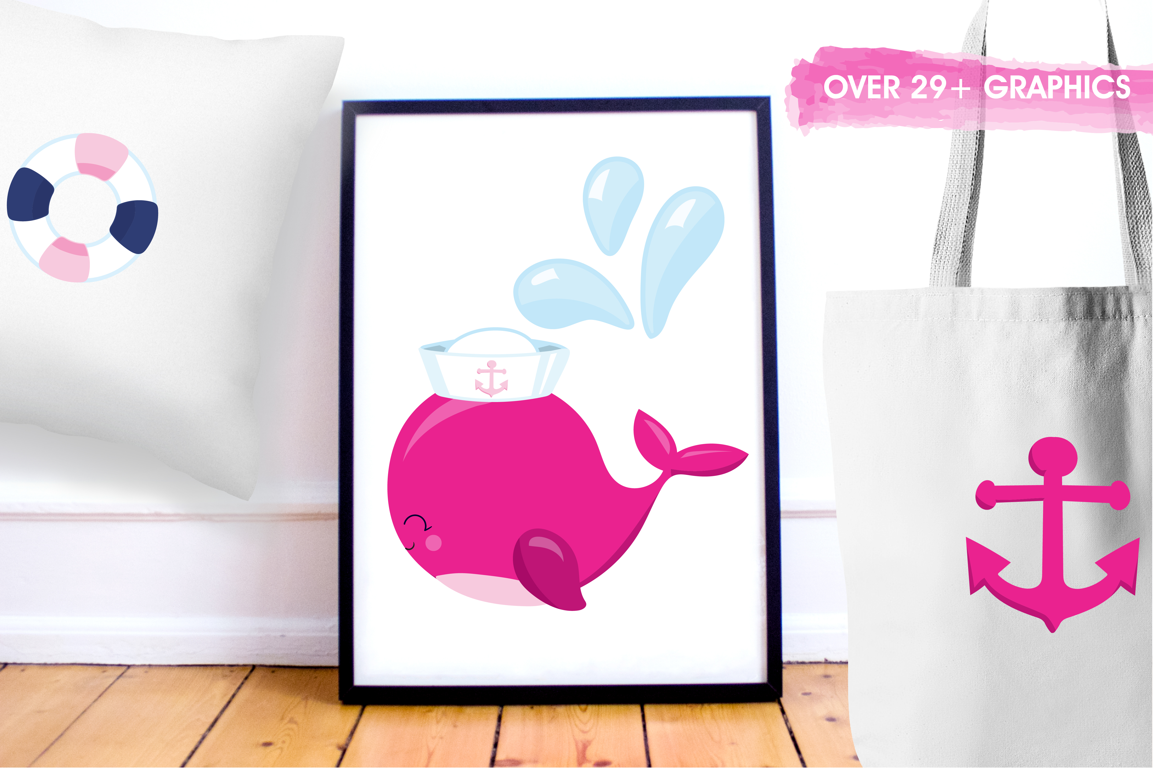Print on Demand: Cute Whales Graphic Illustrations By Prettygrafik - Image 5