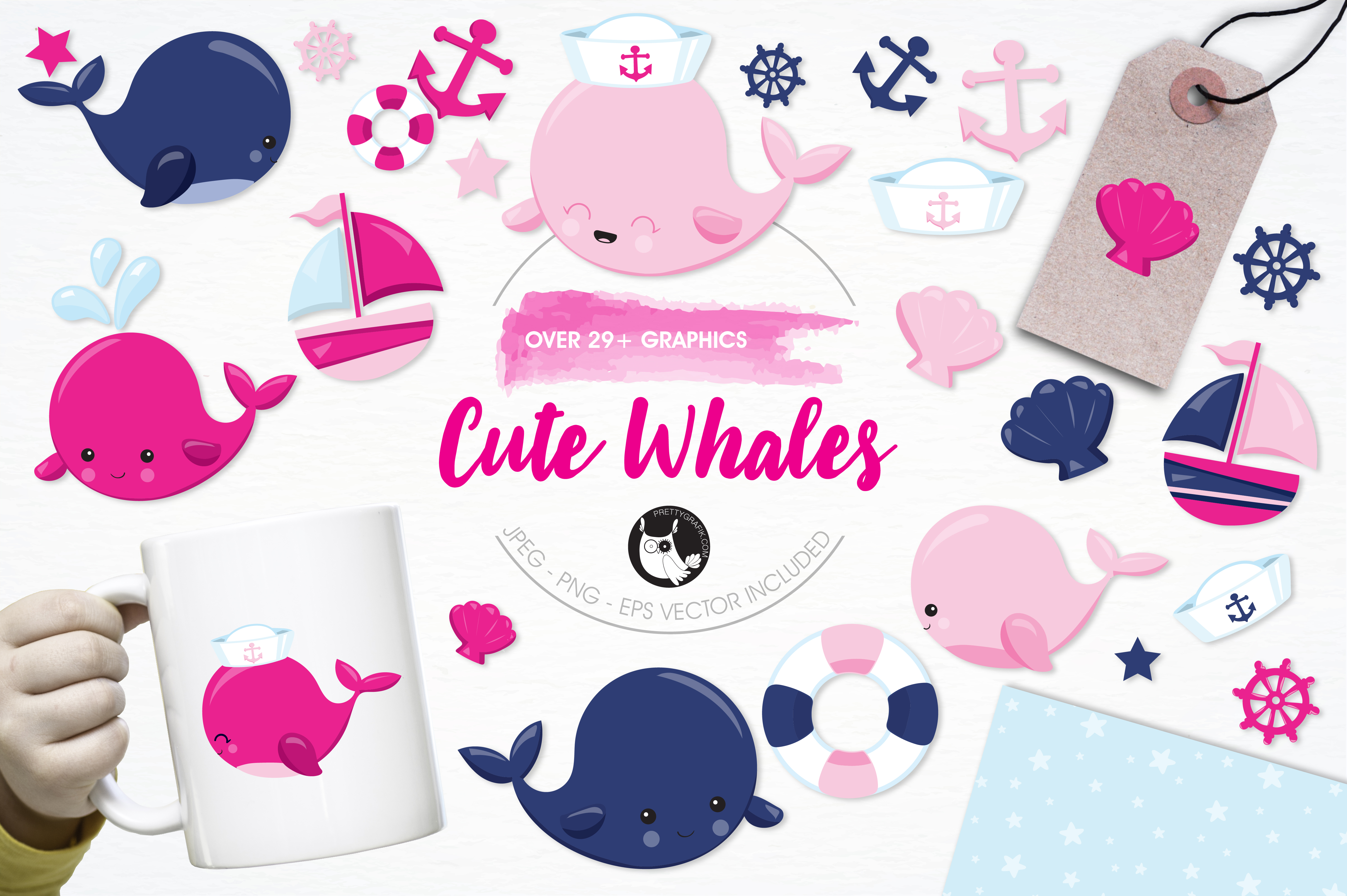 Print on Demand: Cute Whales Graphic Illustrations By Prettygrafik - Image 1