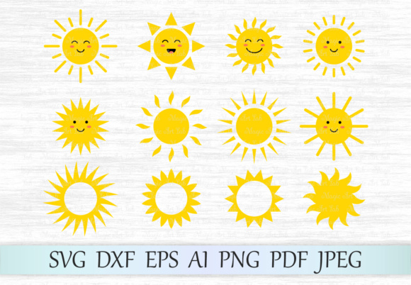 Download Free Cute Suns Graphic By Magicartlab Creative Fabrica for Cricut Explore, Silhouette and other cutting machines.