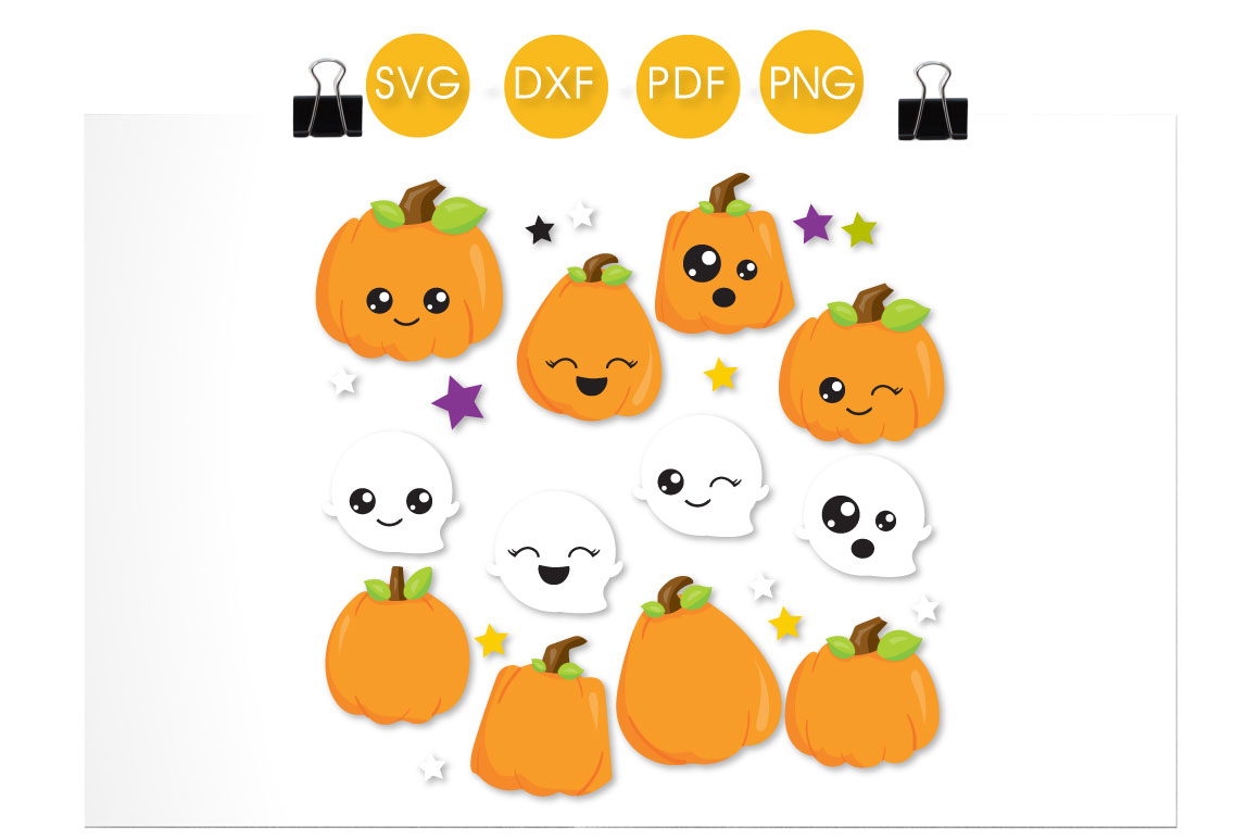 Cutesy Pumpkins and Ghosts Graphic Download