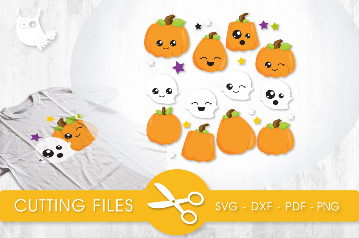 Cutesy Pumpkins and Ghosts Graphic Crafts By PrettyCuttables