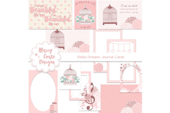 Dahlia Dreams Journal Cards Gráfico Ilustraciones Por MarcyCoateDesigns