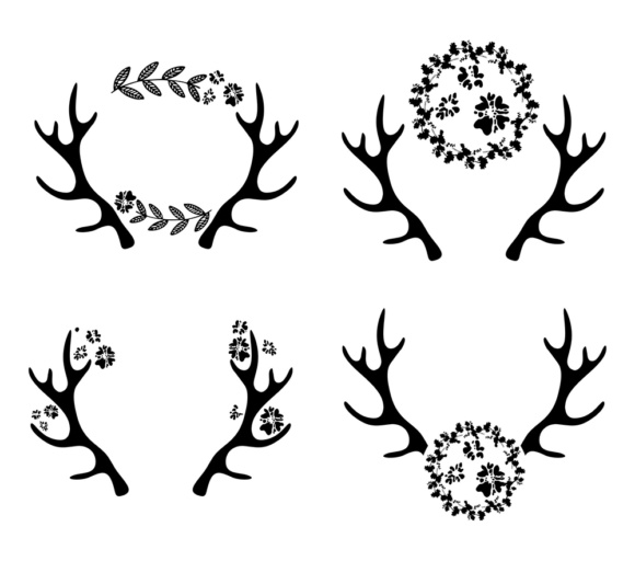 Download Free Deer Antlers Antler Monogram Frame Graphic By Vector City for Cricut Explore, Silhouette and other cutting machines.
