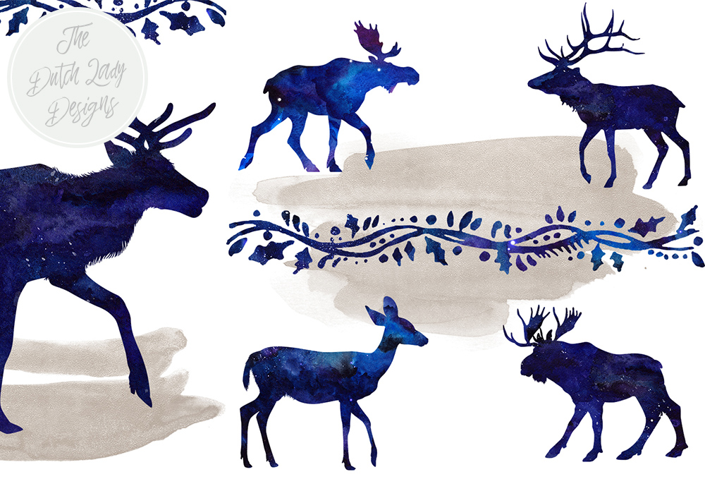 Download Free Deer Reindeer Moose Clipart Set In Night Sky And Winter Sky for Cricut Explore, Silhouette and other cutting machines.