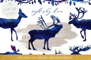 Print on Demand: Deer, Reindeer & Moose Clipart Set - in Night Sky and Winter Sky Style Graphic Illustrations By daphnepopuliers