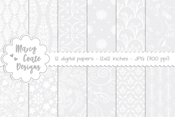 Digital Lace Background Set 1 Graphic Patterns By MarcyCoateDesigns