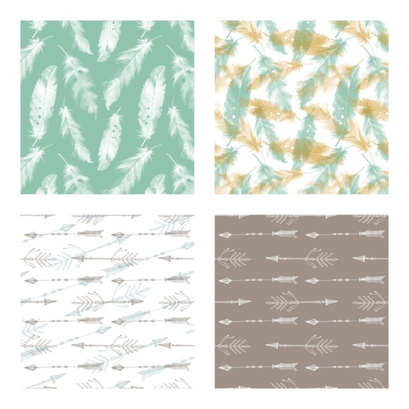 Print on Demand: Digital Scrapbook Paper - Boho & Etnic Watercolor Style Patterns Graphic Patterns By daphnepopuliers - Image 4