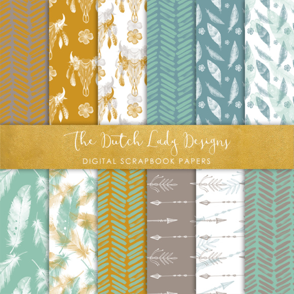 Download Free Digital Scrapbook Paper Boho Etnic Watercolor Style Patterns for Cricut Explore, Silhouette and other cutting machines.