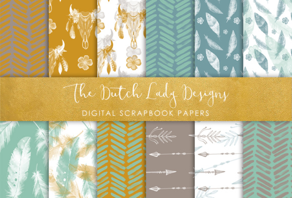 Print on Demand: Digital Scrapbook Paper - Boho & Etnic Watercolor Style Patterns Graphic Patterns By daphnepopuliers