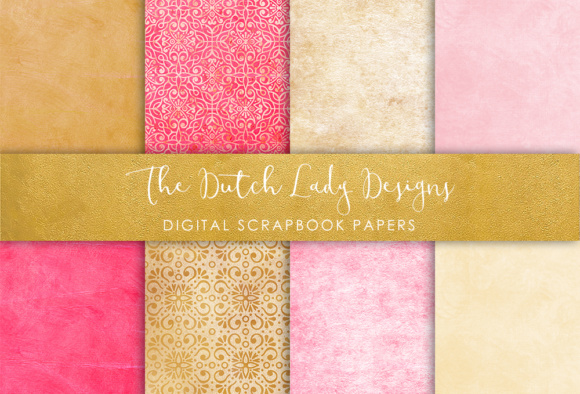 Download Free Digital Scrapbook Paper Damask Patterns In Pink Oker for Cricut Explore, Silhouette and other cutting machines.