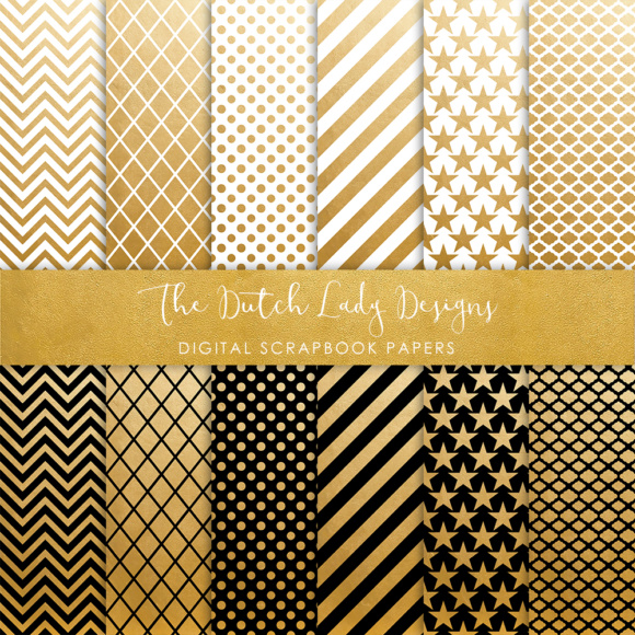 Download Free Digital Scrapbook Paper Golden Black White Geometric Patterns for Cricut Explore, Silhouette and other cutting machines.