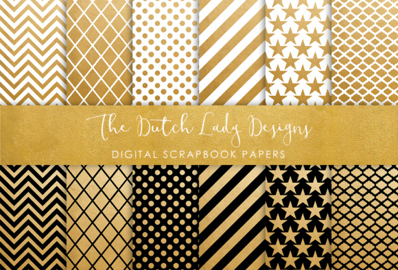 Print on Demand: Digital Scrapbook Paper - Golden, Black & White Geometric Patterns Graphic Patterns By daphnepopuliers