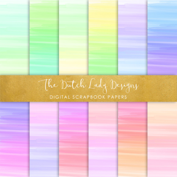 Print on Demand: Digital Scrapbook Paper - Rainbow Paint Smears Graphic Textures By daphnepopuliers - Image 5
