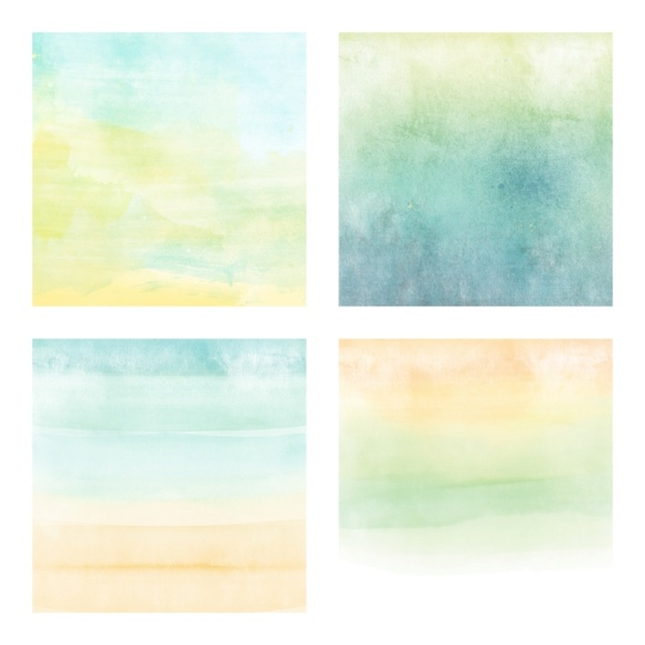 Print on Demand: Digital Scrapbook Paper - Watercolor Ombres in Aqua & Lime Color - Beach Ombres Graphic Textures By daphnepopuliers - Image 3