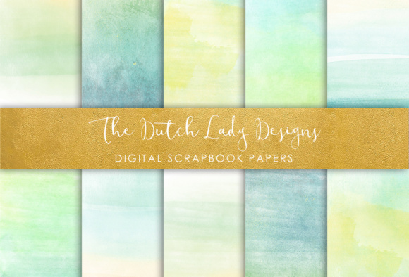 Print on Demand: Digital Scrapbook Paper - Watercolor Ombres in Aqua & Lime Color - Beach Ombres Graphic Textures By daphnepopuliers
