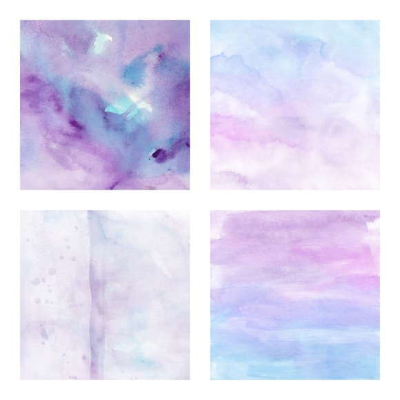 Print on Demand: Digital Scrapbook Paper - Watercolor Ombres in Blue & Purple - Waterpaint Textures Graphic Textures By daphnepopuliers - Image 2