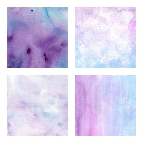 Print on Demand: Digital Scrapbook Paper - Watercolor Ombres in Blue & Purple - Waterpaint Textures Graphic Textures By daphnepopuliers - Image 3