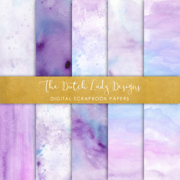 Print on Demand: Digital Scrapbook Paper - Watercolor Ombres in Blue & Purple - Waterpaint Textures Graphic Textures By daphnepopuliers - Image 5