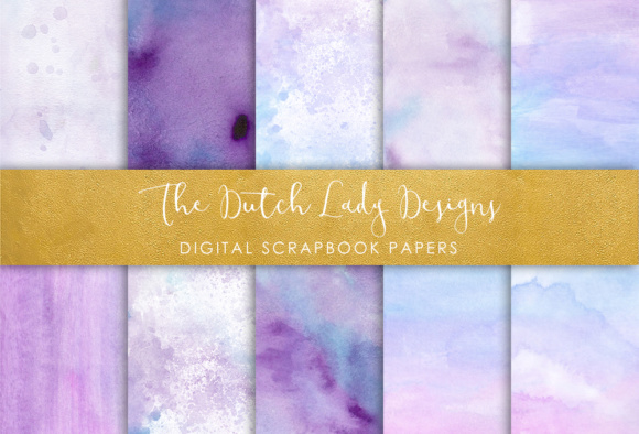 Print on Demand: Digital Scrapbook Paper - Watercolor Ombres in Blue & Purple - Waterpaint Textures Graphic Textures By daphnepopuliers - Image 1